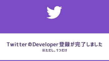 画像)Twitterのデベロッパー登録が完了しました